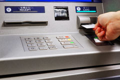 Insert card in a ATM machine Royalty Free Stock Photo