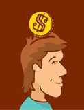 Insert coin or money into head and mind Royalty Free Stock Photo