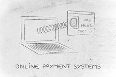Insert coin pay here pop-up message, online payment system Royalty Free Stock Photography