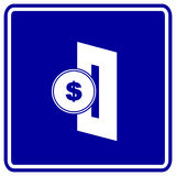 Insert coin in slot vector blue sign Royalty Free Stock Photos