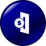 Insert coin in slot vector button. Vector blue button with an insert coin in slot symbol vector illustration