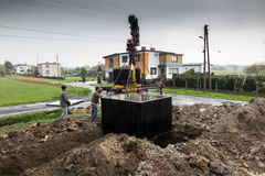 Insert concrete septic septic tank Royalty Free Stock Photography