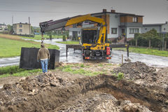 Insert concrete septic septic tank Royalty Free Stock Photos