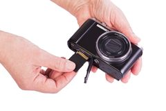 Memory Card  inserted in the camera. Royalty Free Stock Photos