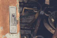 Insert Money Below. Old vending machine in art/scrap yard. Well rusted and aged patina Stock Photos