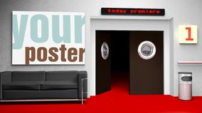 Insert your cinema poster in frame. Insert your photo - the file includes clipping path Royalty Free Stock Photography