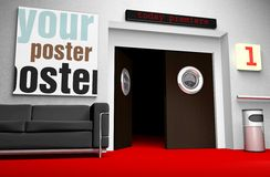 Insert your cinema poster in frame. Insert your photo - the file includes clipping path Royalty Free Stock Photos