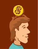 Inserte la moneda o el dinero en la cabeza y la mente Foto de archivo libre de regalías