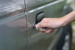 Inserted Car Key. Close up of Inserted Car Key Stock Photos