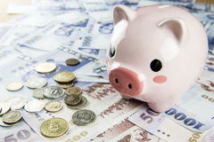 Inserting a coin into a piggy bank Royalty Free Stock Photo