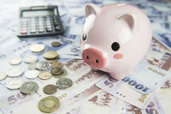 Inserting a coin into a piggy bank Stock Photo