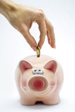 Inserting a coin into pink piggy bank Royalty Free Stock Photography