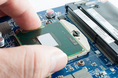 Inserting CPU into the motherboard socket Royalty Free Stock Images