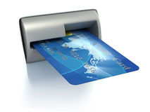 Inserting credit card into ATM. 3d illustration Stock Photo