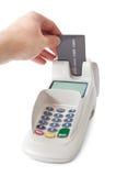 Inserting credit card into bank terminal Stock Photos