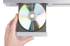 Inserting a disc into a CD player Royalty Free Stock Images