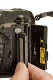 Inserting or Removing Camera Memory Card Stock Image