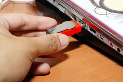 Inserting Thumb Drive Stock Images
