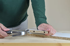 Inserting  Wooden Dowels Royalty Free Stock Image