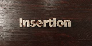 Insertion - grungy wooden headline on Maple  - 3D rendered royalty free stock image Stock Photos