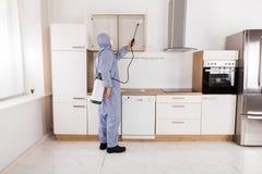 Inseticida de pulverização do trabalhador do controlo de pragas na prateleira fotos de stock