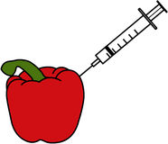 Inseticidas - uma seringa que cola em uma pimenta vermelha Imagem de Stock