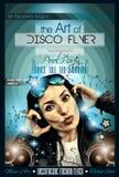 Inseto atrativo do disco do clube com uma menina DJ que escuta a música ilustração royalty free