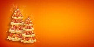 Inseto da promoção do Natal com fatia da pizza na forma da árvore de Natal com espaço da cópia Pizza criativa do cartaz do ano no fotos de stock royalty free