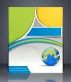 Inseto do negócio da disposição com mapa do mundo, capa de revista Fotos de Stock Royalty Free