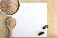 Inseto do pó do grilo para comer e cozinhar o alimento na colher de madeira e a bacia com o modelo do Livro Branco no fundo de ma foto de stock
