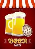 Inseto do partido da cerveja Ilustração do vetor com vidros e pousas-copos de cerveja Imagem de Stock
