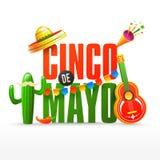 Inseto do partido da festa ou ou projeto do cartaz para a celebração de Cinco De Mayo ilustração royalty free