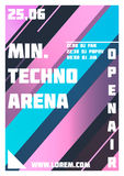 Inseto do partido Mínimo, arena de Techno Inseto do evento da música ou molde da ilustração da bandeira Fotos de Stock