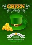 Inseto do Partido Verde Cartão de convite para o dia de St Patrick da celebração Fotografia de Stock Royalty Free