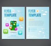 Inseto do projeto do molde, smartphone branco com a nuvem de ícones coloridos da aplicação ilustração royalty free