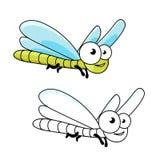 Inseto engraçado da libélula do verde dos desenhos animados Fotos de Stock