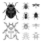 Inseto, erro, besouro, pata Os insetos ajustaram ícones da coleção no preto, Web da ilustração do estoque do símbolo do vetor do  ilustração do vetor