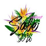 Inseto horizontal havaiano tropical com folhas de palmeira e as flores exóticas Venda Frame redondo Ilustração do vetor Fotografia de Stock