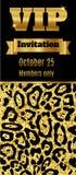 Inseto superior do cartão do convite do partido do clube do VIP Preto e molde do ouro Fotos de Stock Royalty Free