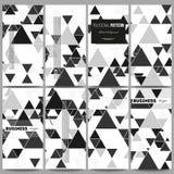Insetos ajustados Teste padrão triangular do vetor Triângulos pretos abstratos no fundo branco Fotografia de Stock