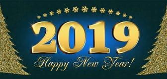 2019 insetos do ano novo feliz e de cartão ou de Natal de cumprimentos convites temáticos com a figura da árvore do ano novo do b Fotos de Stock Royalty Free