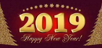 2019 insetos do ano novo feliz e de cartão ou de Natal de cumprimentos convites temáticos com a figura da árvore do ano novo do b Fotografia de Stock Royalty Free
