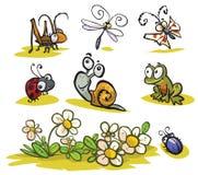Insetos dos desenhos animados e animais pequenos Fotos de Stock