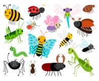 Insetos dos desenhos animados Vector a coleção bonito, a mosca e o joaninha, a louva-a-deus e a vespa, o erro e o besouro do inse Fotos de Stock