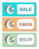Insetos, etiquetas, marcador, folhetos de propaganda, mês e uma estrela, venda, ramadan, 50 por cento fora ilustração stock