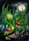 Insetos na grama na noite com lua ilustração do vetor