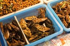 Insetti fritti Mercato di notte a Bangkok thailand fotografie stock libere da diritti