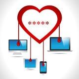 Insetto dell'emorragia del cuore del virus dell'insetto di Heartbleed con il computer, linguetta, cellulare, vettore eps10 di conc royalty illustrazione gratis