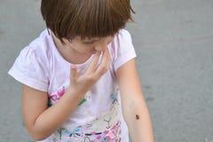 Insetto variopinto sulla mano del ` s del bambino Fotografia Stock Libera da Diritti