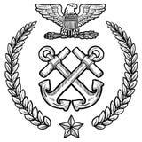Insígnias da marinha dos E.U. com grinalda Fotografia de Stock